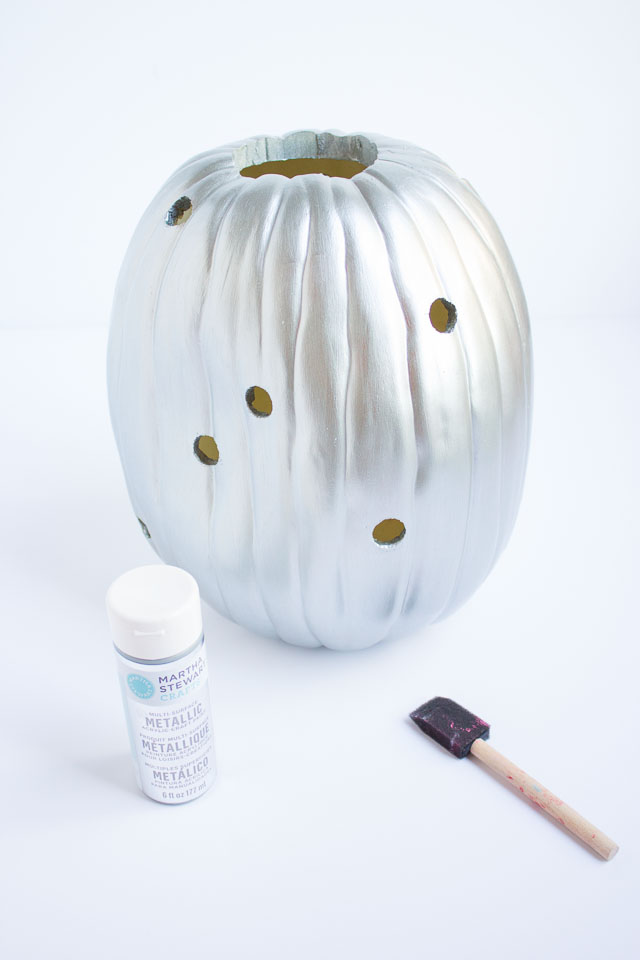 Metallic silver craft pumpkin