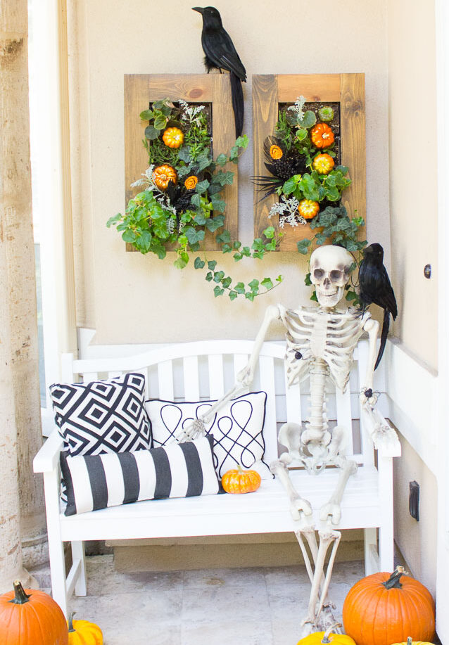 Halloween skeleton front porch idea