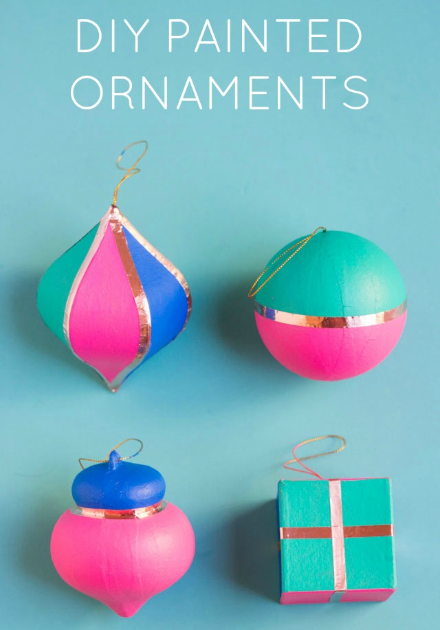 DIY painted Christmas ornaments with copper tape