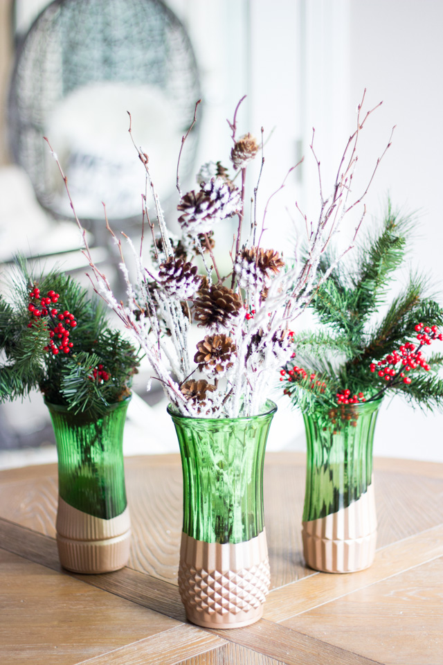 Dip thrift store vases in metallic paint for a modern look!