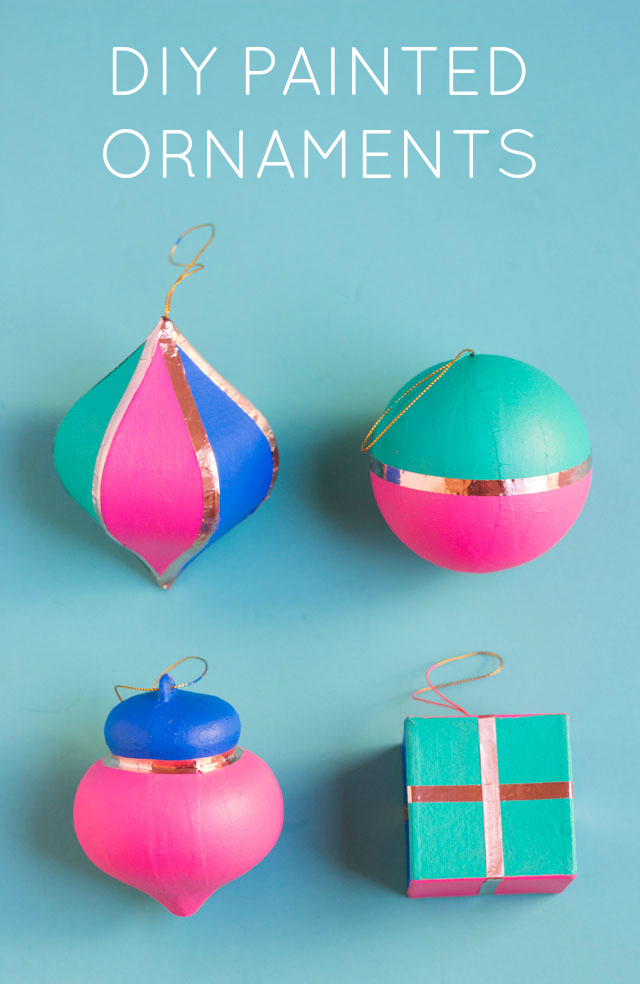DIY painted paper mache Christmas ornaments with copper trim