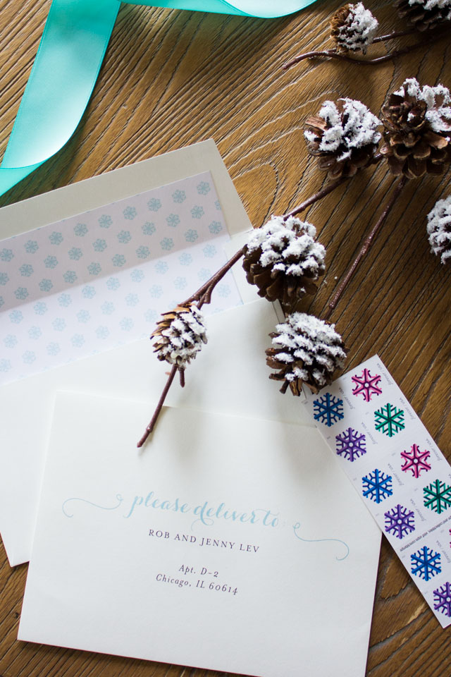 Pre addressed holiday card envelopes from Minted