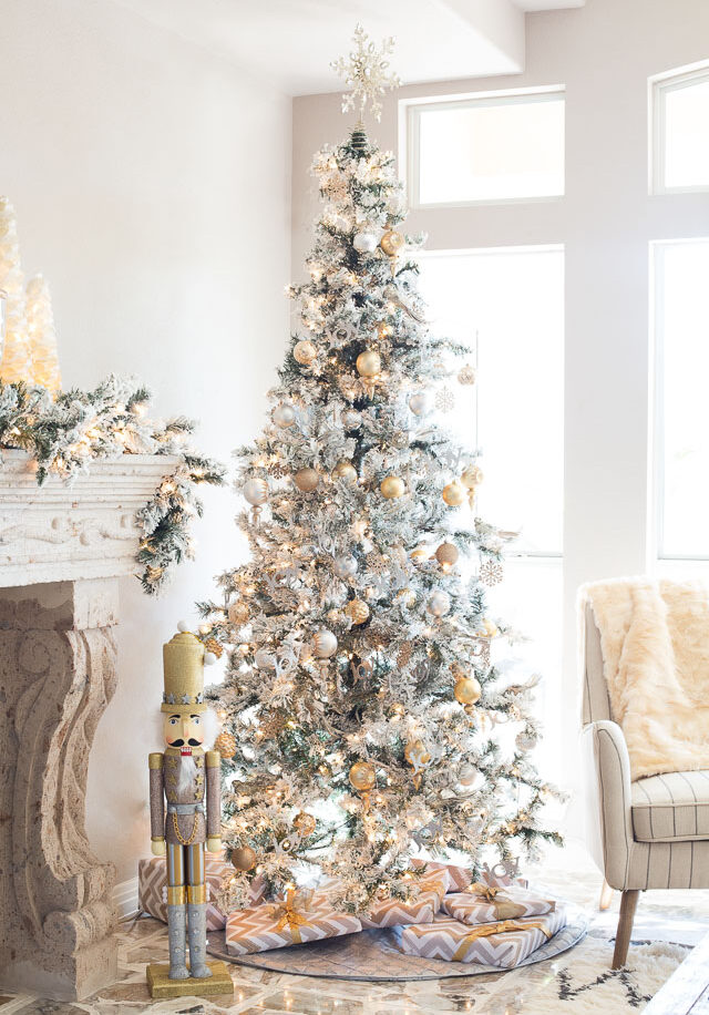 Silver and gold christmas family room