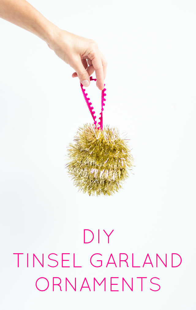 Homemade Christmas ornaments with tinsel garland