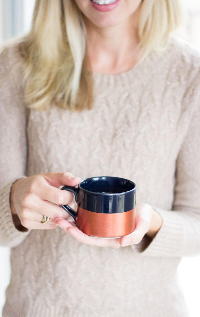 DIY metallic dipped coffee mug