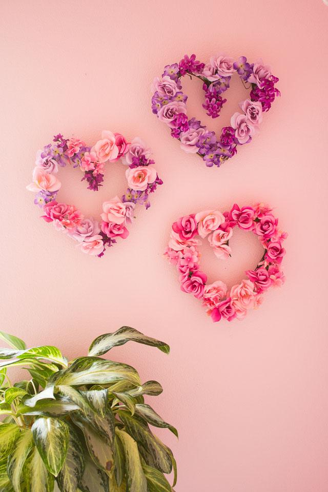 DIY Valentine's Day floral heart wreaths
