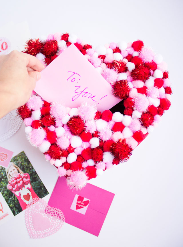 DIY pom-pom Valentine holder box