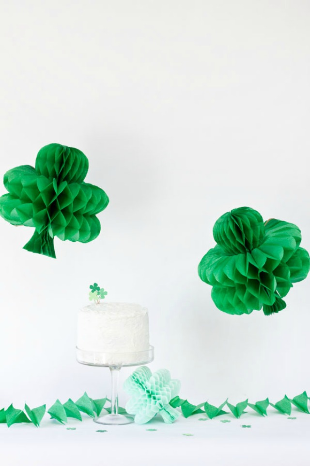 Honeycombs turned DIY shamrocks are the perfect St. Patrick's Day party decorations!