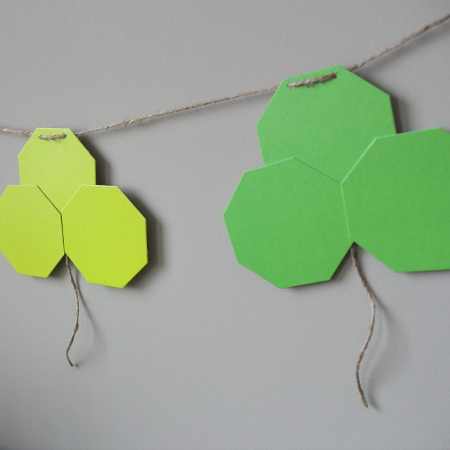 Try a modern take on the shamrock with this geometric St. Patricks Day garland!
