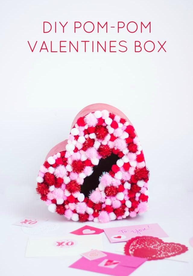 Pom-pom Valentine card box