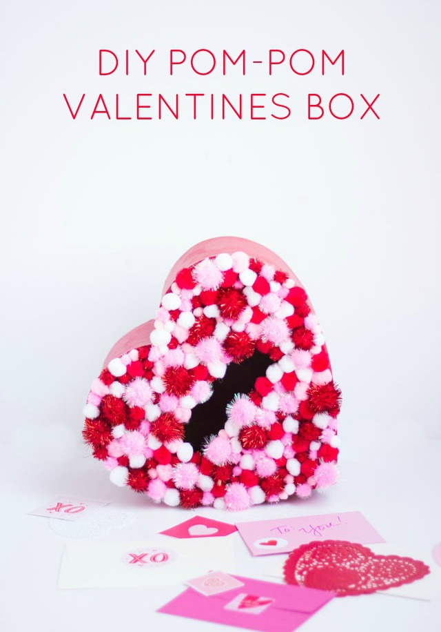 DIY Pom-Pom Heart Valentines Box