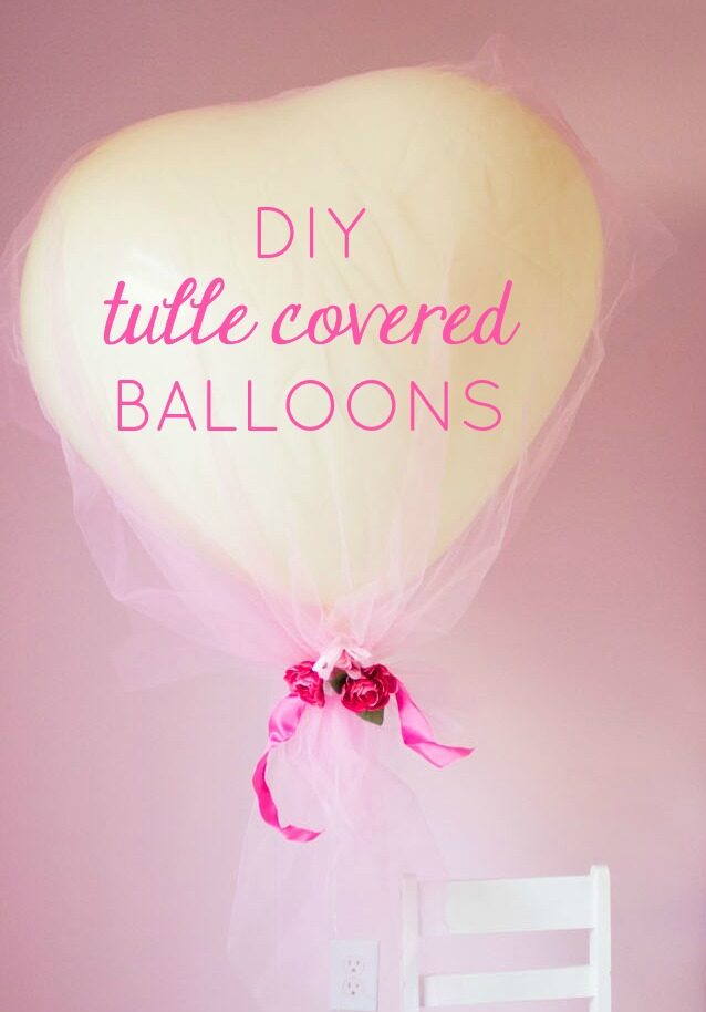 Tulle covered heart balloons