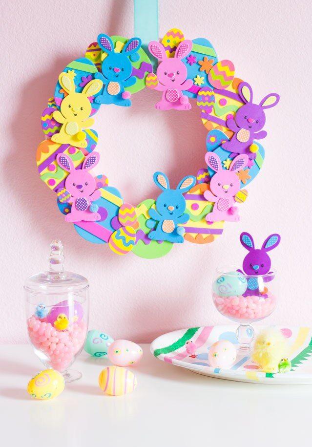 Foam DIY Easter Bunny Wreath