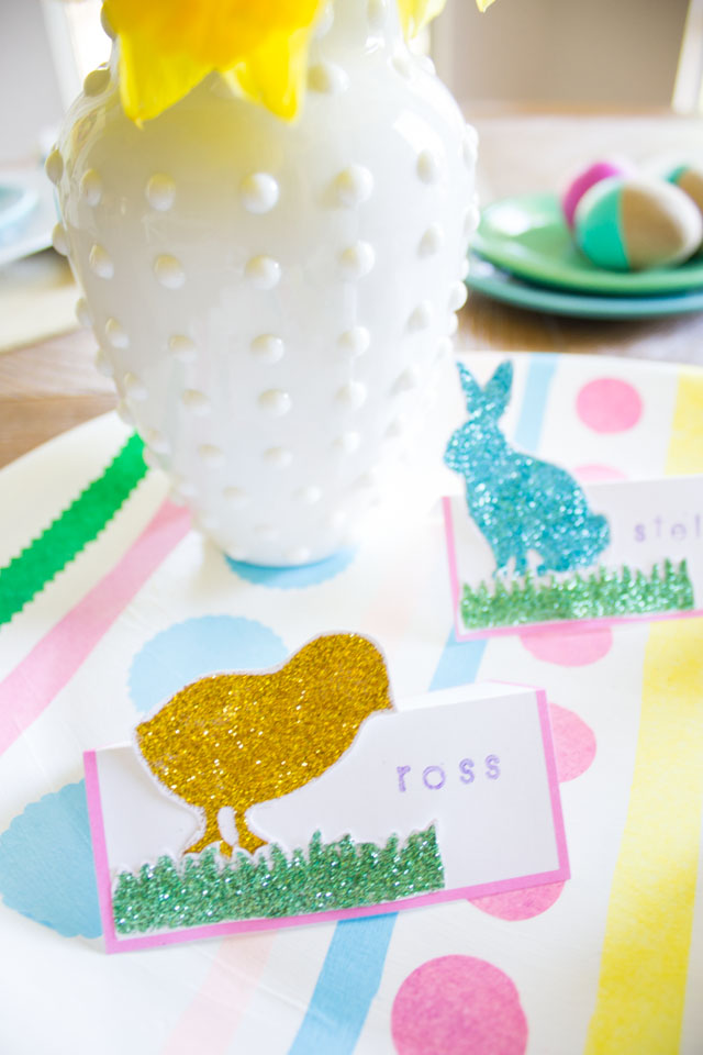 DIY Easter place cards with Martha Stewart glitter and stencils!