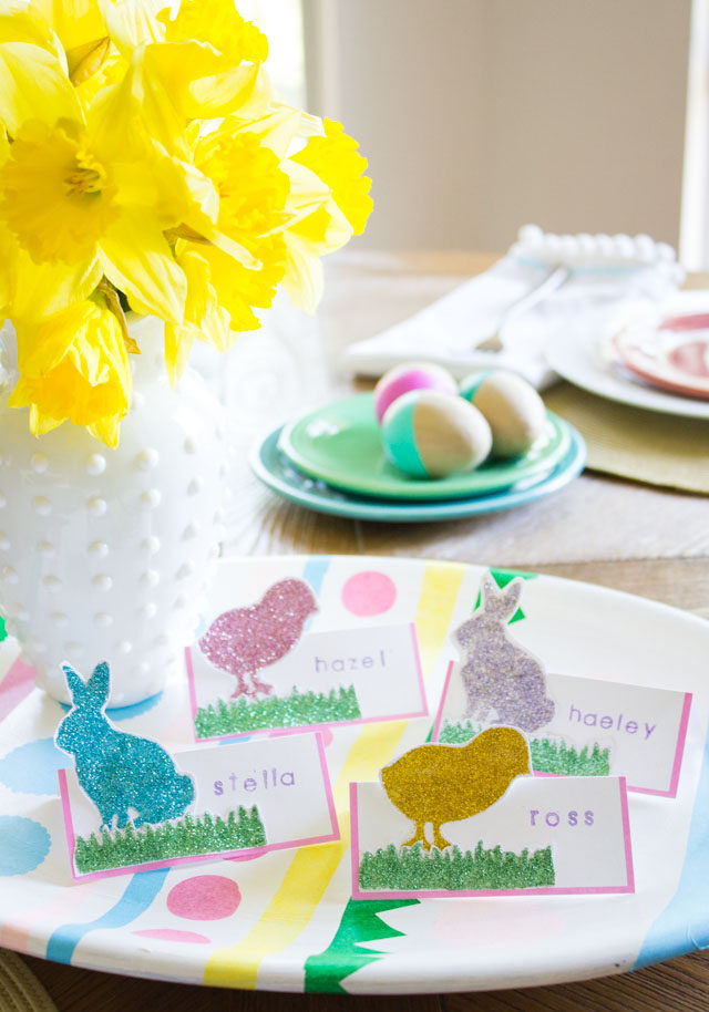 DIY Glittered Easter Place Cards