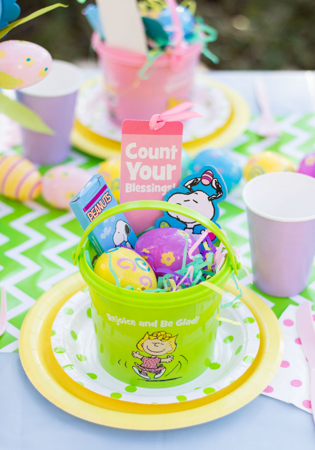 Kids Easter party featuring Snoopy and Peanuts characters - so cute!