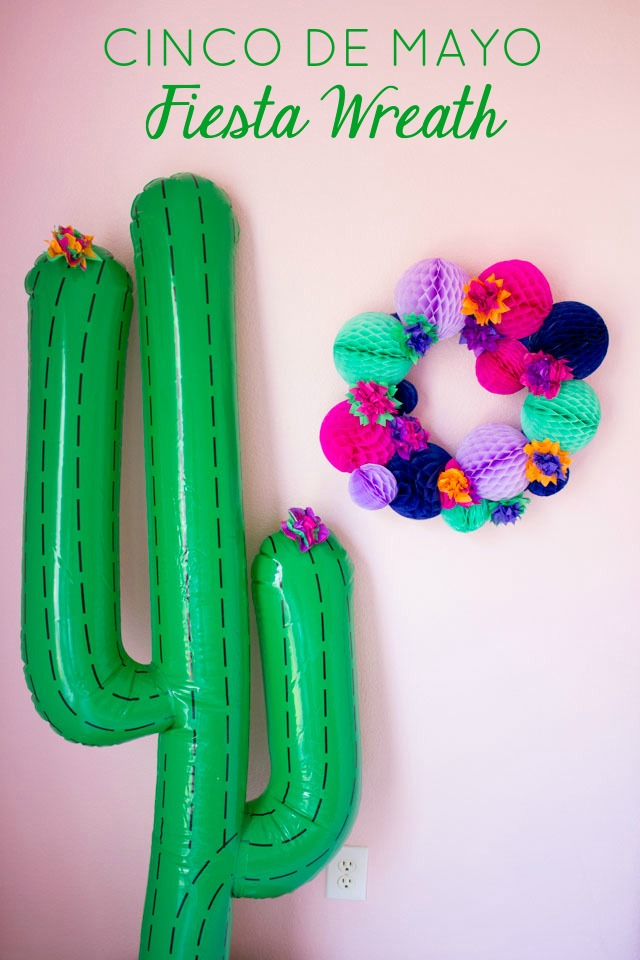 Make this DIY fiesta wreath for your Cinco de Mayo or summer party!