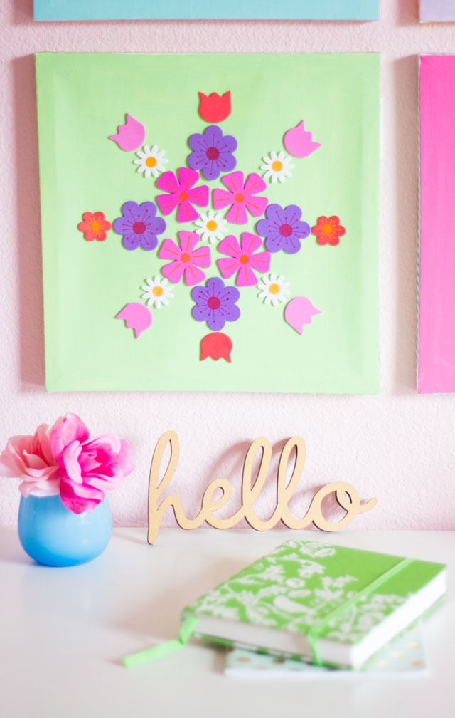 Pretty spring wall decor made from flower stickers - so cute!