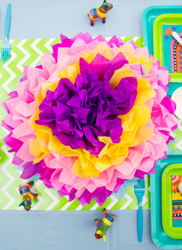 Giant tissue paper flowers - the perfect Cinco de Mayo decorations