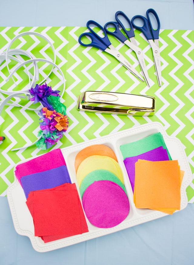 Girls craft night - make your own tissue paper flower headbands!