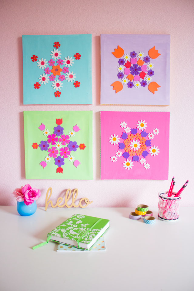 Create gorgeous floral wall art from an inexpensive pack of foam flower stickers!