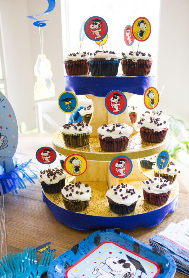 DIY cupcake tower with chocolate chip surprise cupcakes!