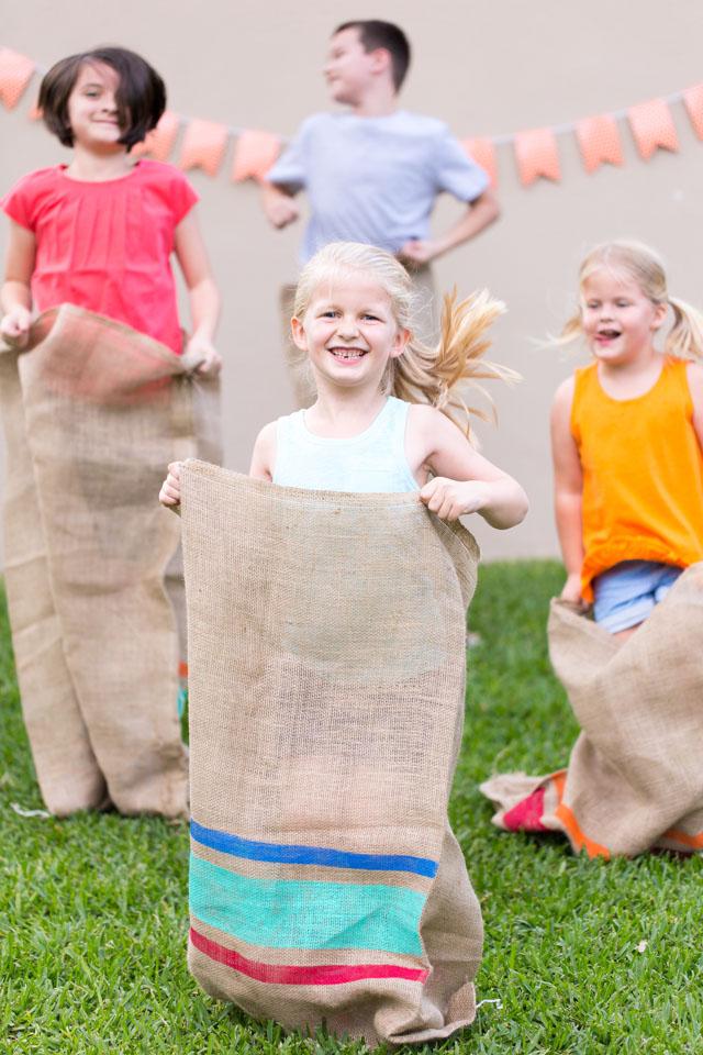 DIY Painted Potato Sack Race Bags