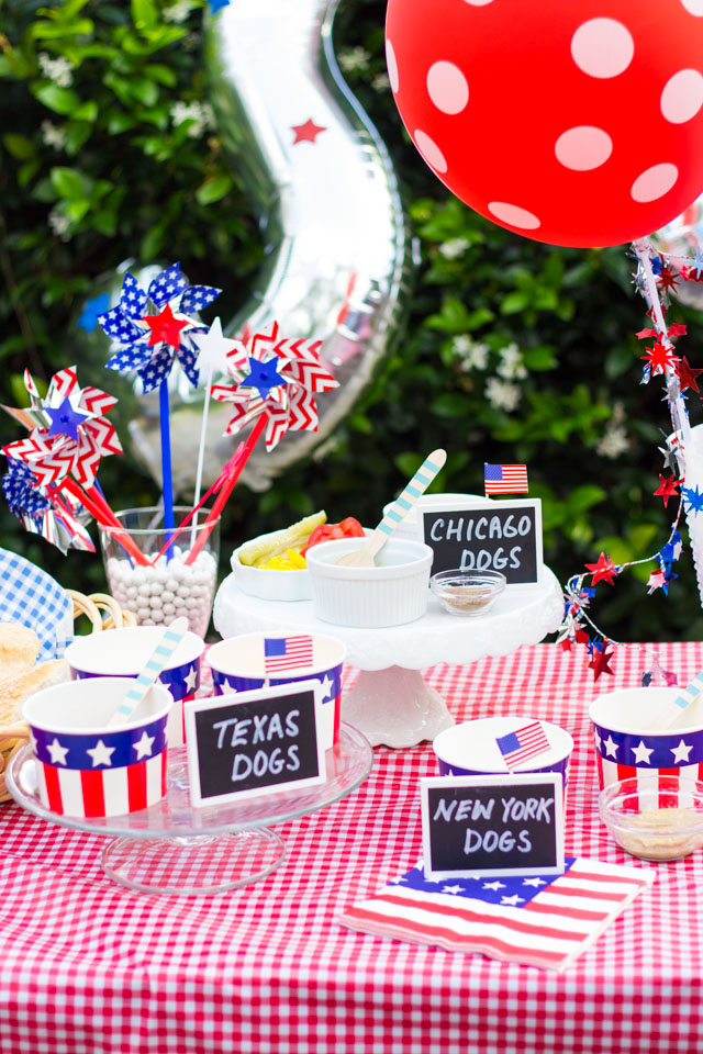 Make an All-American hot dog bar with toppings from around the USA - perfect for a 4th of July party!