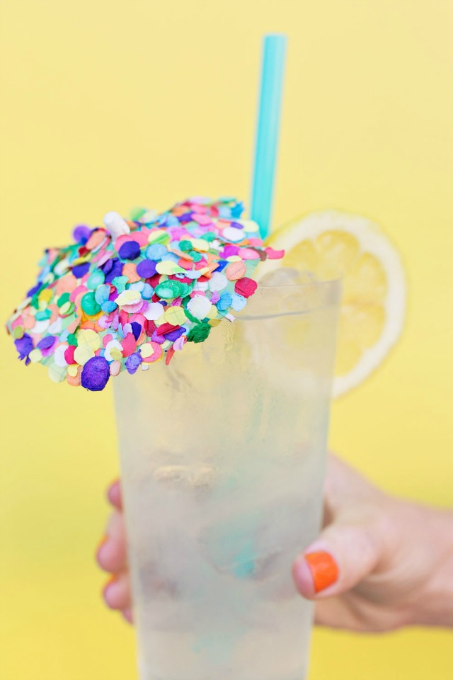 Drink umbrellas are even better when covered in confetti!