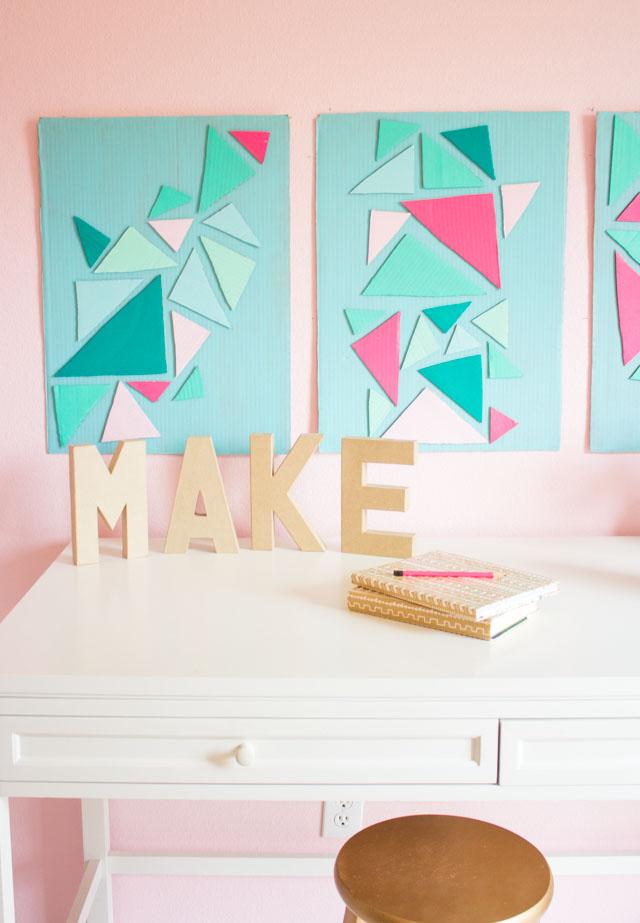 How to make modern cardboard wall art #cardboardcrafts #diywallart #geometricwallart