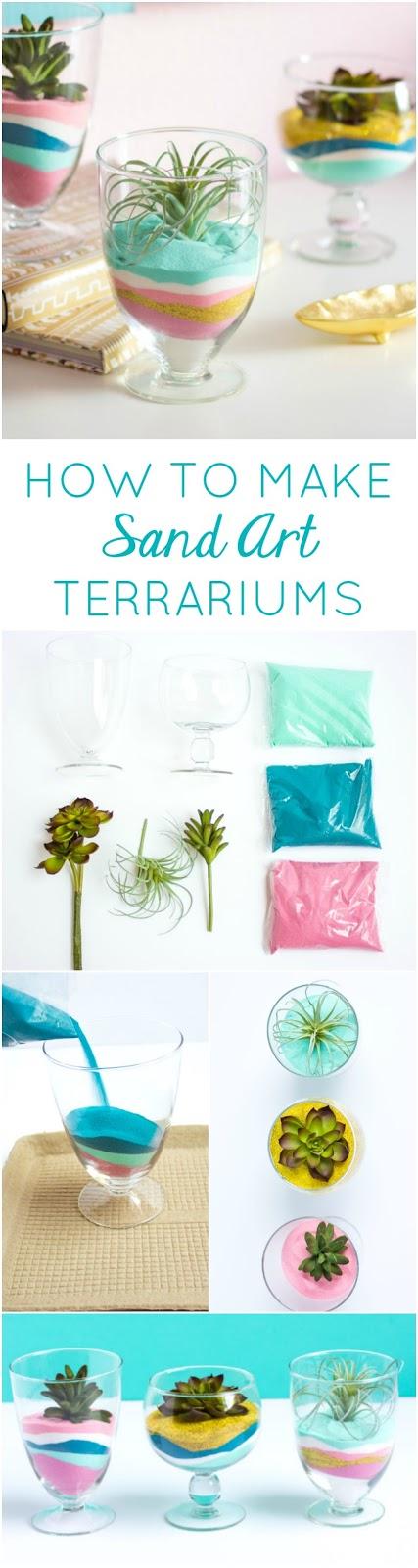 How to make DIY succulent sand art terrariums - such a pretty home decor project!