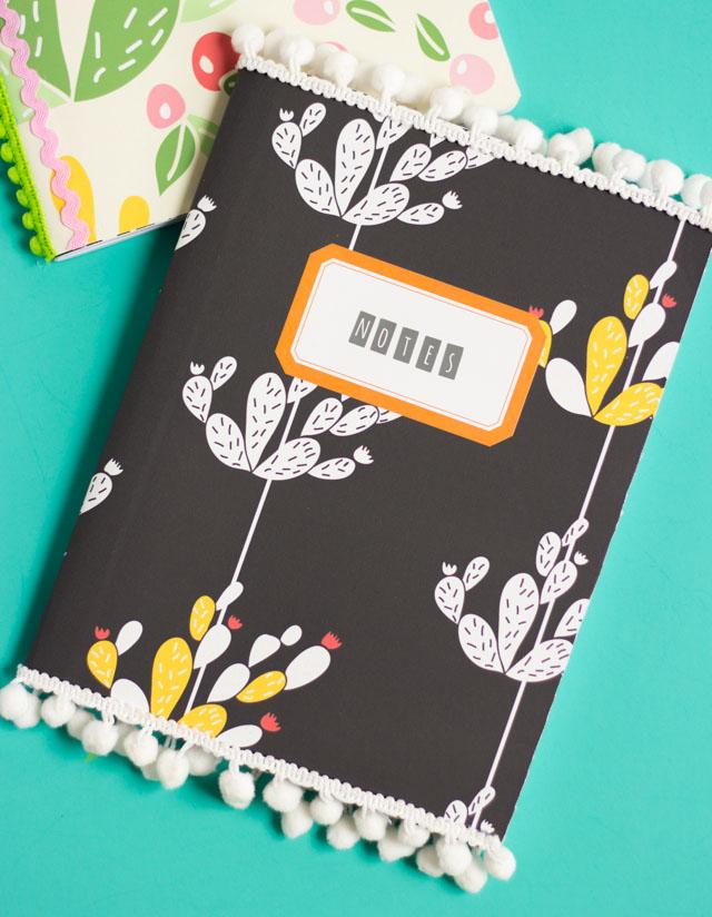 DIY Pom Pom Trim Notebooks
