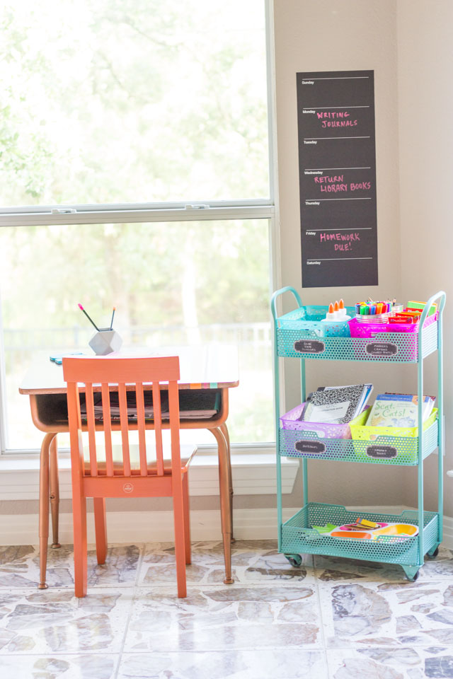 Carve out a spot in your kitchen for a homework station!