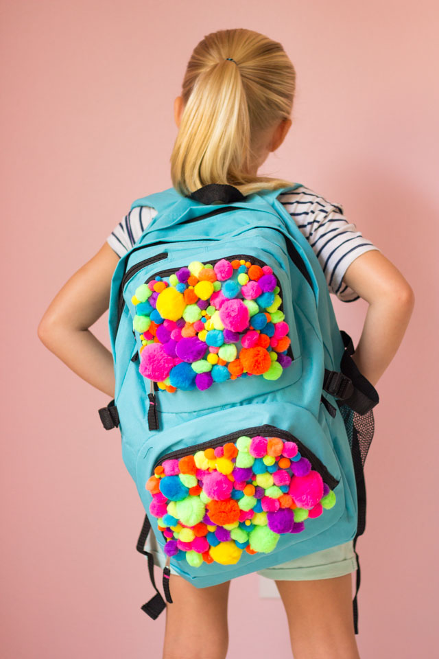 DIY Pom-Pom Backpack - so fun for back-to-school!