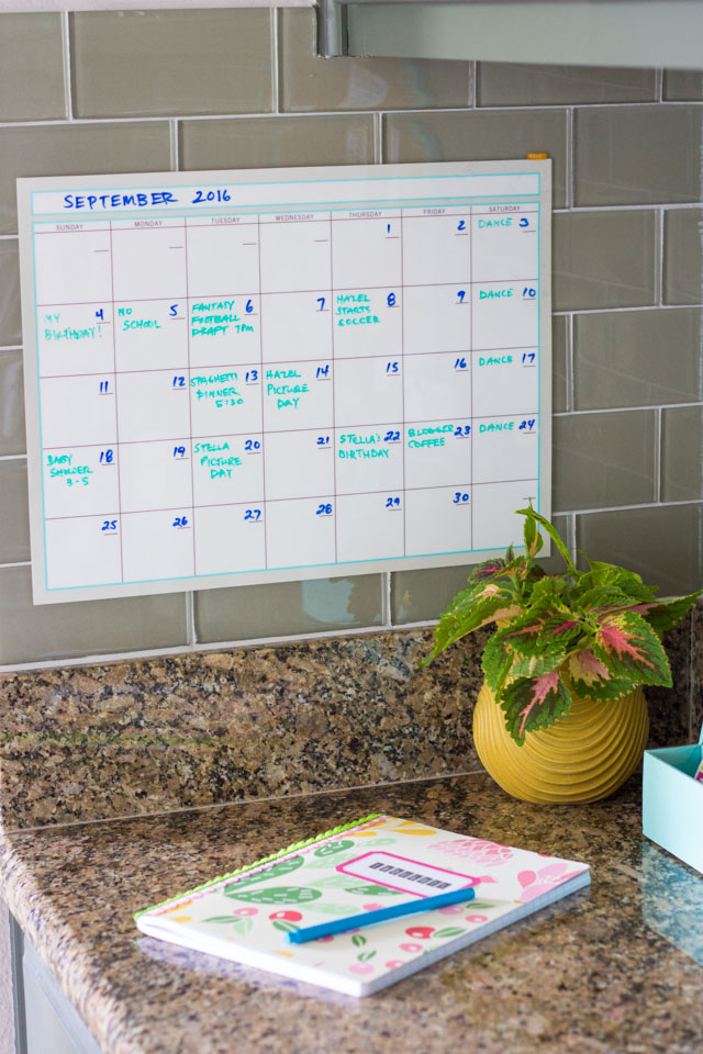 Dry erase monthly calendar from Martha Stewart office!