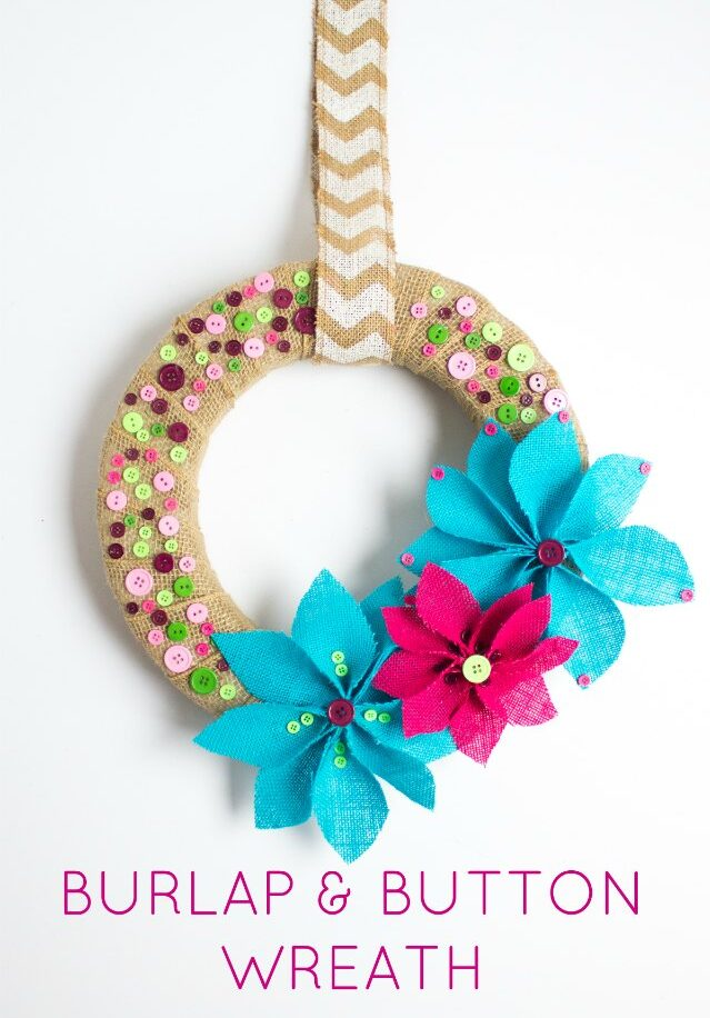 Burlap and button wreath