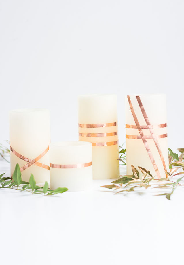 DIY Copper Tape Wrapped Candles