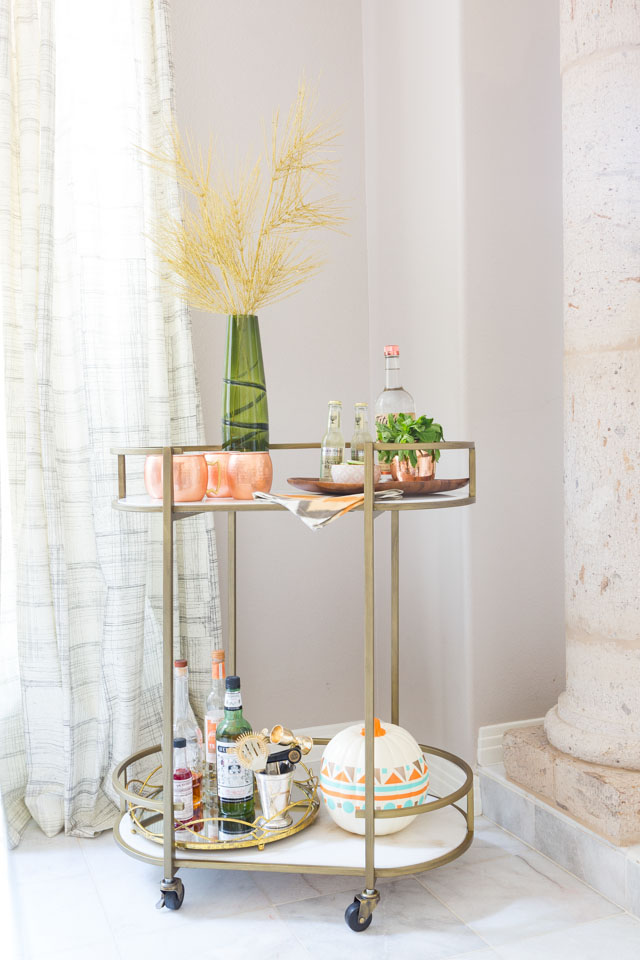 Such a pretty gold and marble bar cart from hayneedle.com!