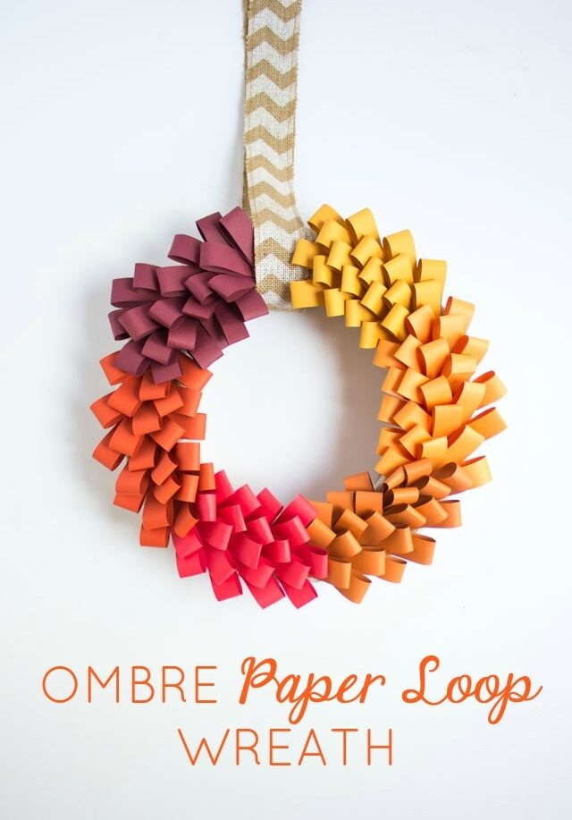 Diy ombre paper loop wreath