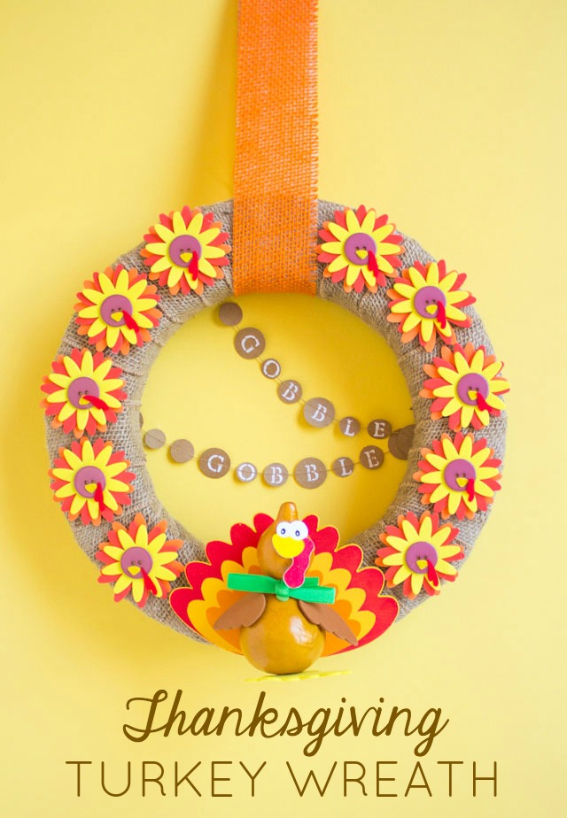Make a fun turkey wreath for Thanksgiving! The perfect Thanksgiving craft for kids and adults to work on together. Gobble gobble!
