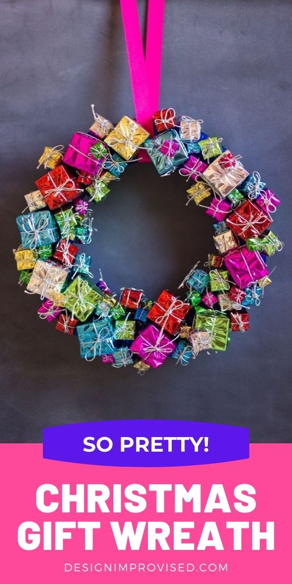 DIY Christmas Gift Wreath with Mini Package Ornaments