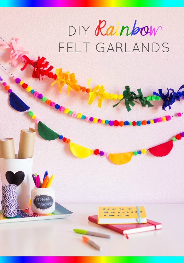 DIY Rainbow Felt Garlands