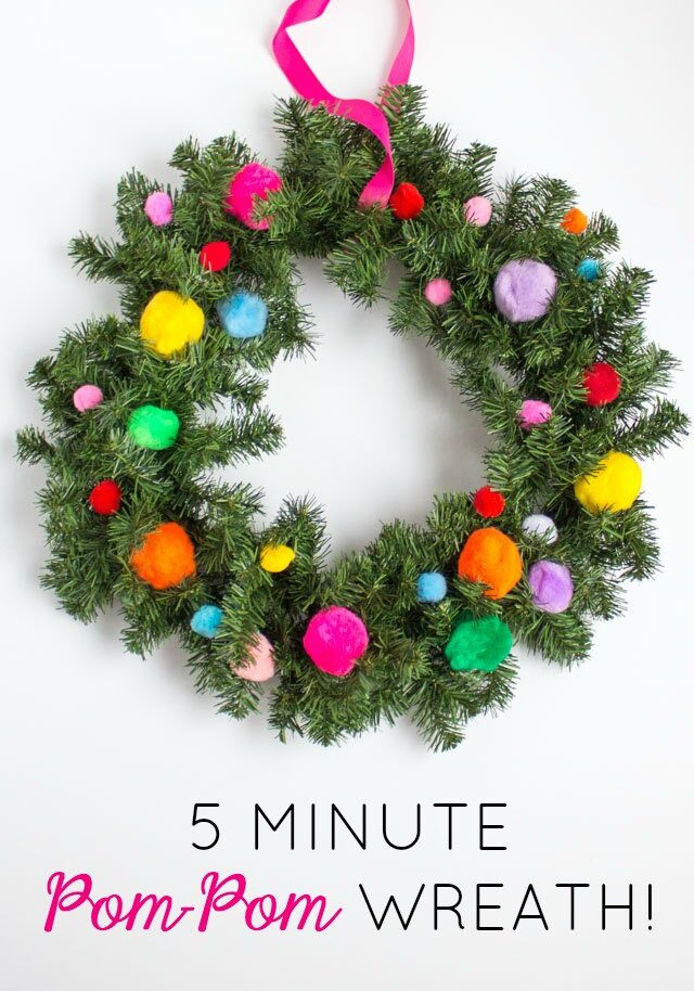 5 Minute Christmas Pom-Pom Wreath