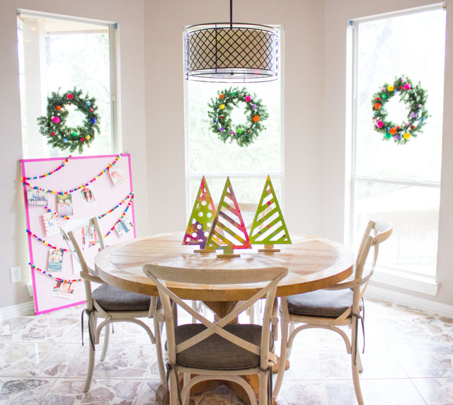 Colorful and bright kitchen table decorated for Christmas