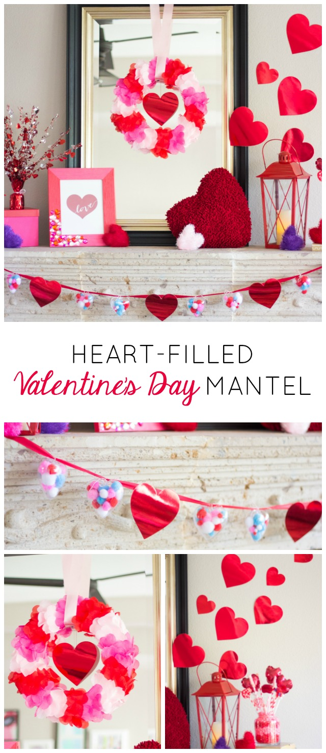 Love this Valentine mantel filled with lots of simple DIY touches!