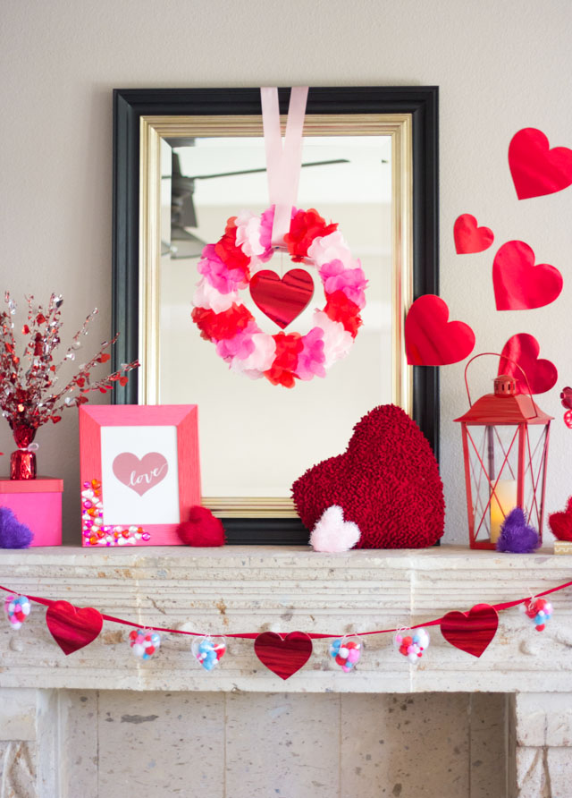 Heart-Filled Valentine's Day Mantel