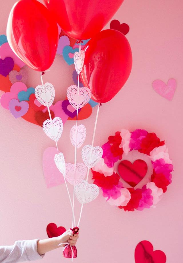Heart Doily Valentine Balloons Craft