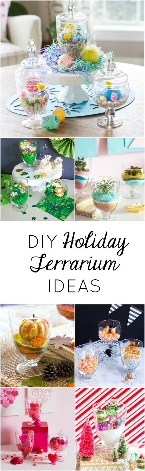 Create the sweetest holiday terrariums throughout the year using the same set of glass jars!