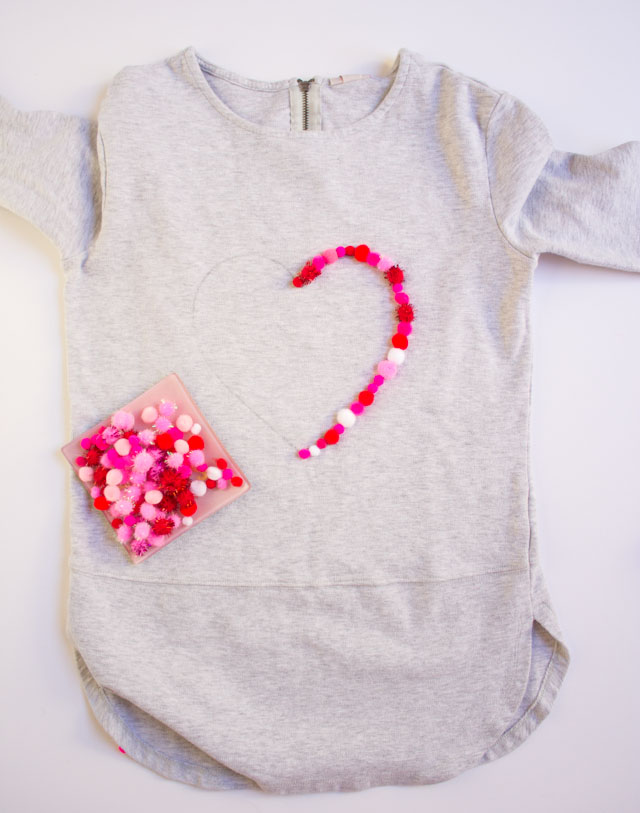 Make a pom-pom heart shirt for Valentine's Day - or any day!