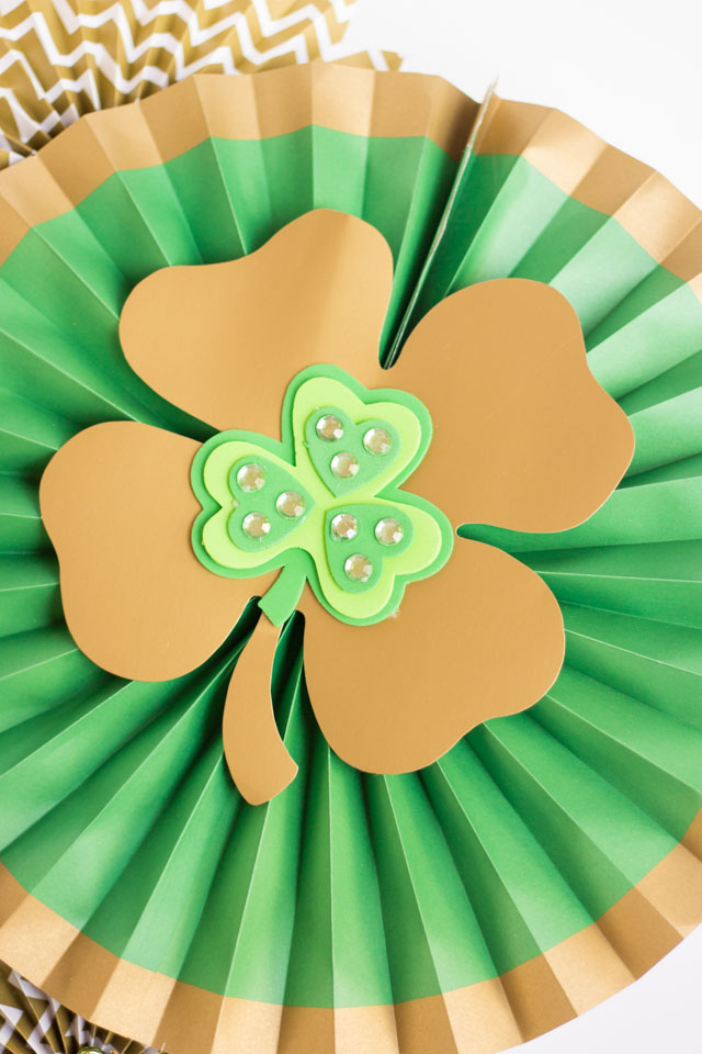 Make a St. Patrick's Day Wreath out of paper party fans!